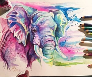 art, elephant, and drawing image