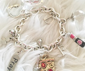 bracelet, charms, and pink image