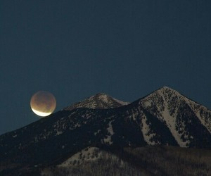 moon, mountains, and beauty image