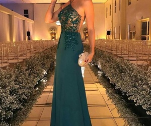 green evening dress and prom dress long image