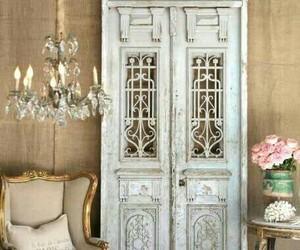 door, flowers, and home image