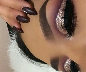 makeup, glitter, and eyeshadow image