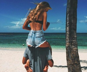 couple, beach, and love image