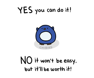 motivational, penguin, and chibird image