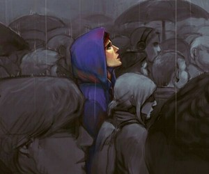 rain, butterfly, and art image