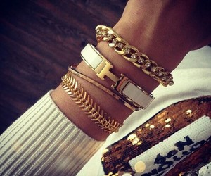 gold, bracelet, and hermes image