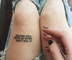 tattoo, quotes, and jeans image