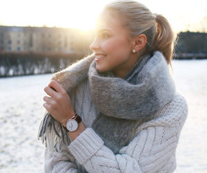 blogger, grey, and knitwear image