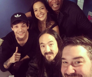 steve aoki, louis tomlinson, and one direction image