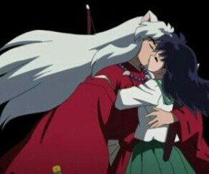 inuyasha, kagome, and kiss image