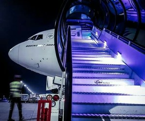 aircraft, boeing, and night image