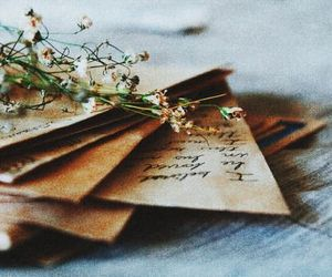 letters, flowers, and vintage image