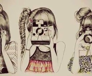 girl, camera, and drawing image
