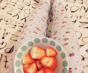 bed, strawberries, and ikea duvet image