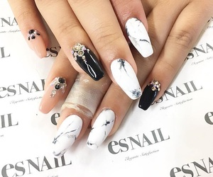 black, manicure, and marble image