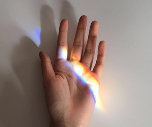 colors, hand, and rainbow image