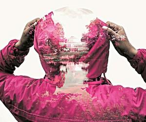 coat, doubleexposure, and pink image