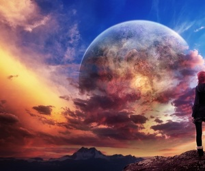 planet, sunset, and sky image
