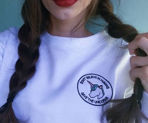 girl, red lips, and braid image