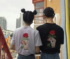couple, grunge, and rose image