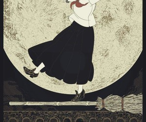 anime, witch, and full moon image