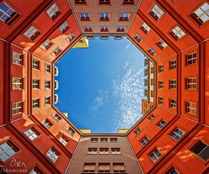 architecture, photography, and orange and blue image