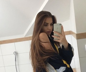 girl, hair, and selfie image