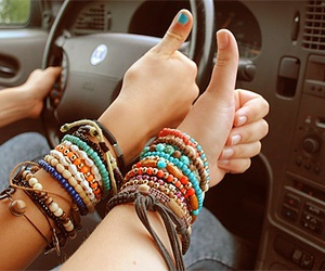 bracelet, friends, and car image