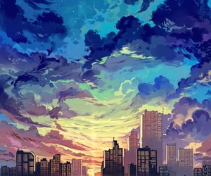 sky, art, and city image