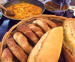 turkish breakfast, ekmek, and simit image