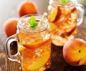 iced tea, peach, and tea image