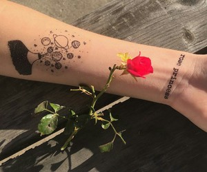 rose, tattoo, and girl image