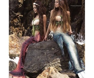 beach, mermaids, and photography image