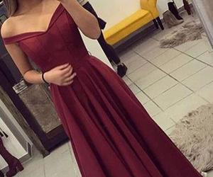 beauty, burgundy, and dress image