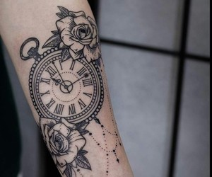 clock, roses, and drawing image
