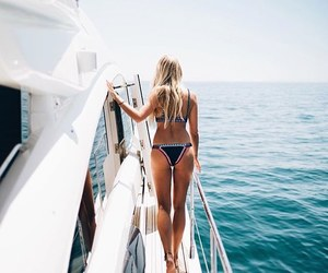 bikini, hair, and blonde image