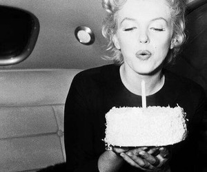 Marilyn Monroe, cake, and birthday image