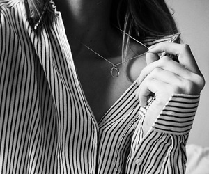 blackandwhite, moon, and necklace image