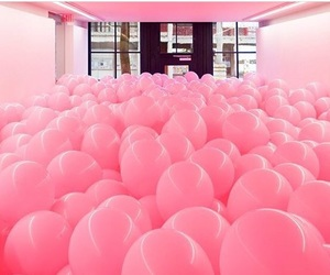 pink, balloons, and room image
