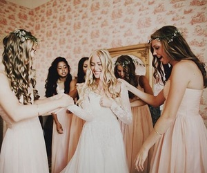 bride, bridesmaids, and friendship image