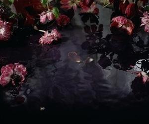 dark, eyeshadow, and flowers image