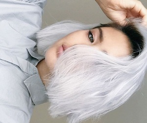 dyed hair, white hair, and hairstyle image