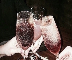 pink, sparkles, and wine glasses image