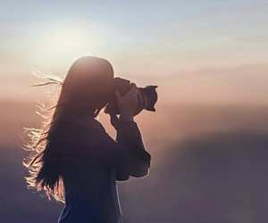 photography, camera, and sunset image