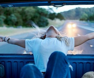 car, freedom, and girl image