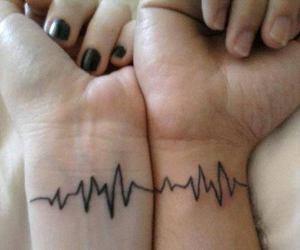 tattoo, couple, and heartbeat image