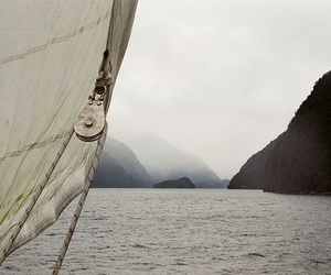 boat, mountains, and place image