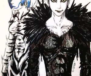 rem, ryuk, and death note image