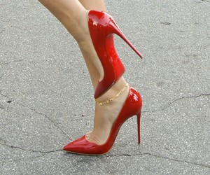 heels, louboutin, and totally red image