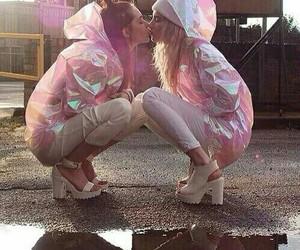lesbian, pink, and kiss image